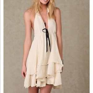 Free People One ivory and black halter dress small